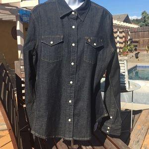 Carhartt denim shirt jacket w snaps XL women